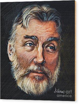 Adrian Paunescu -portrait Wood Print by Daliana Pacuraru
