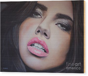 Adriana Lima Oil On Canvas Wood Print