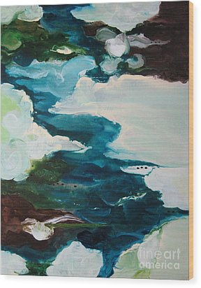Wood Print featuring the painting aDrift IV by Elis Cooke