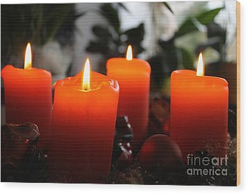 Wood Print featuring the photograph Advent Candles Christmas Candle Light by Paul Fearn