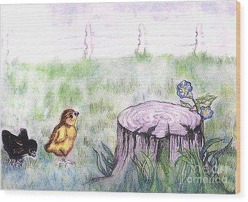 Adventurous Chicks Wood Print by Francine Heykoop