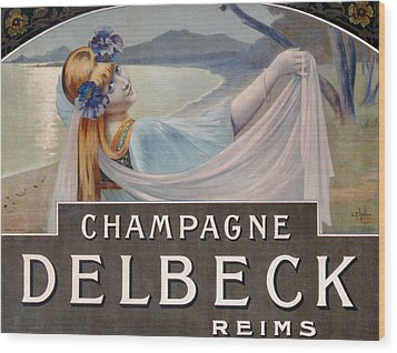Advertisement For Champagne Delbeck Wood Print by Louis Chalon