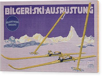Advertisement For Skiing In Austria Wood Print by Carl Kunst