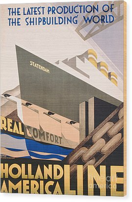 Advertisement For The Holland America Line Wood Print by Hoff