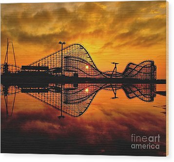 Adventure Pier At Sunrise Wood Print by Nick Zelinsky