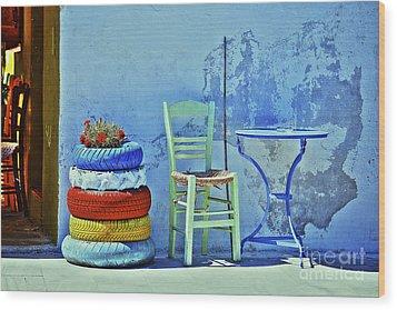 Aegean Colours Wood Print