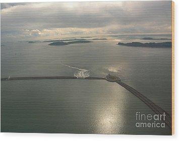Aerial Causeway Wood Print by Deborah Smolinske