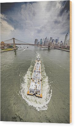 Aerial View - The Barge At The East River Wood Print