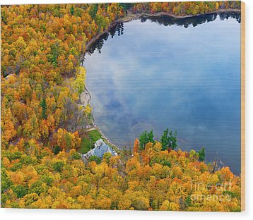 Aerial View Of A Canadian Lake In The Fall Season Wood Print