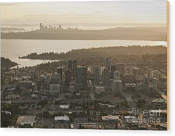 Aerial View Of Bellevue Skyline Wood Print