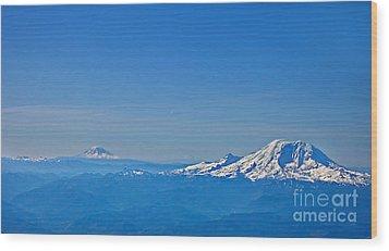 Aerial View Of Mount Rainier Volcano Art Prints Wood Print