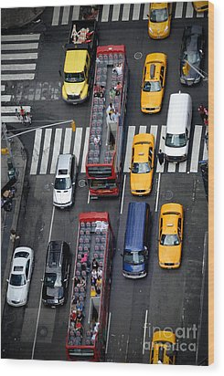 Aerial View Of New York City Traffic Wood Print by Amy Cicconi