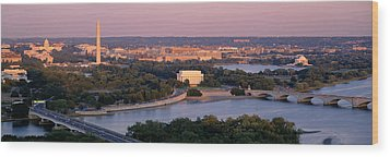 Aerial, Washington Dc, District Of Wood Print by Panoramic Images