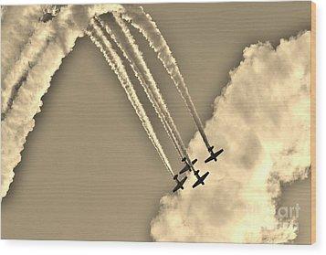 Aeroshell Aerobatic Team In Sepia  Wood Print by Lynda Dawson-Youngclaus