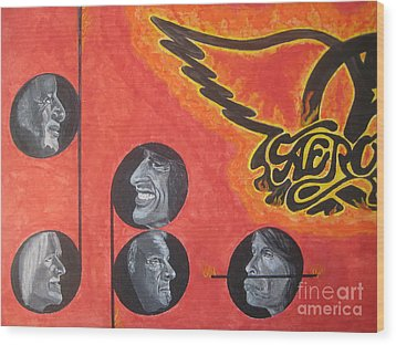 Wood Print featuring the painting Aerosmith Art Painting 40th Anniversary by Jeepee Aero