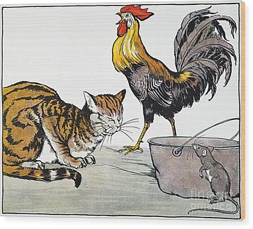 Aesop: Cat, Cock, And Mouse Wood Print by Granger