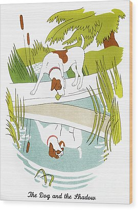 Aesop: Dog & Shadow Wood Print by Granger