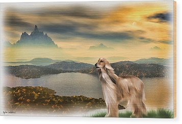 Wood Print featuring the painting Afghan Hound by Tyler Robbins