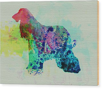 Afghan Hound Watercolor Wood Print by Naxart Studio