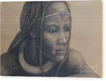 Wood Print featuring the pastel Afican Woman by James McAdams