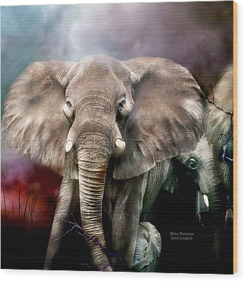 Africa - Protection Wood Print by Carol Cavalaris