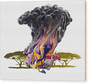 Africa Up In Smoke Wood Print