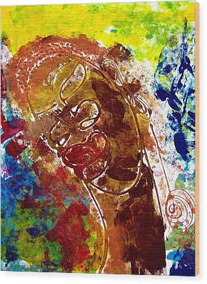 Wood Print featuring the painting African Alpha Female by Cleaster Cotton