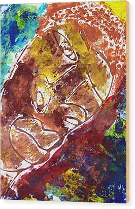 Wood Print featuring the painting African Alpha Male by Cleaster Cotton