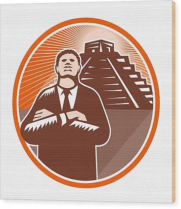 African American Businessman Protect Pyramid Wood Print by Aloysius Patrimonio