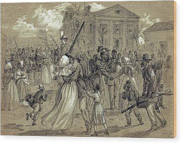 African American Soldiers Return Home From War - 1866 Wood Print by Daniel Hagerman