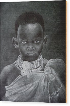 Wood Print featuring the drawing African Boy by James McAdams