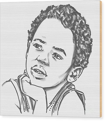 Wood Print featuring the drawing African Boy by Olimpia - Hinamatsuri Barbu