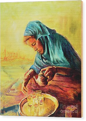 African Chai Tea Lady. Wood Print