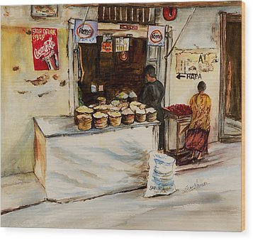African Corner Store Wood Print by Sher Nasser