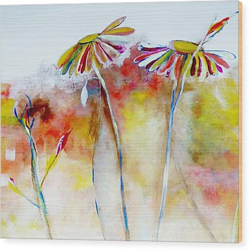 Wood Print featuring the painting African Daisy Abstract by Lisa Kaiser