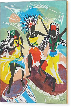 African Dancers No. 4 Wood Print by Elisabeta Hermann