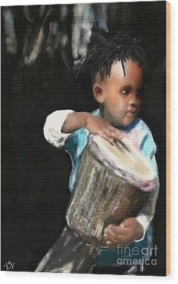 Wood Print featuring the painting African Drummer Boy by Vannetta Ferguson