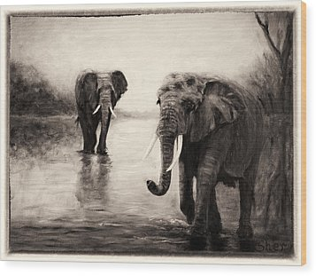 African Elephants At Sunset Wood Print