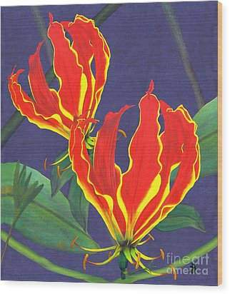 African Flame Lily Wood Print by Sylvie Heasman