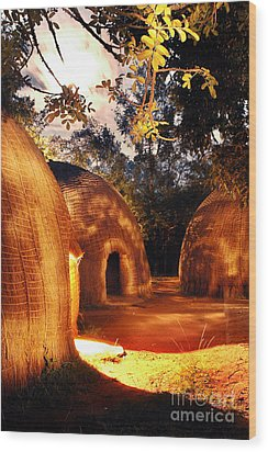 Wood Print featuring the photograph African Grass Huts by Michael Edwards