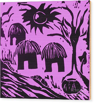 African Huts Pink Wood Print by Caroline Street