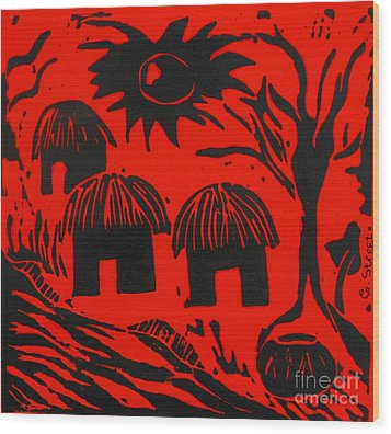 African Huts Red Wood Print by Caroline Street