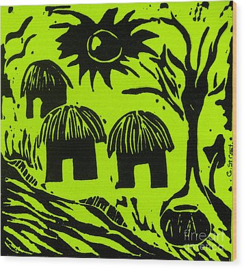African Huts Yellow Wood Print by Caroline Street