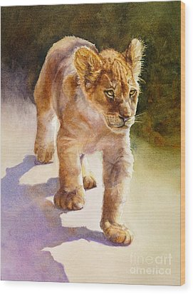 Wood Print featuring the painting African Lion Cub by Bonnie Rinier