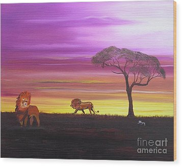 African Lions Wood Print by Barbara Hayes