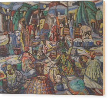 African Market Wood Print
