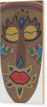 African Mask Wood Print by Bav Patel