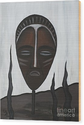 African Mask II Wood Print by Eva-Maria Becker