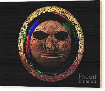 Wood Print featuring the digital art African Mask Series 2 by Jacqueline Lloyd