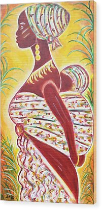 African Mother And Baby Wood Print